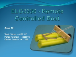 ELG3336 - Remote Controlled Boat