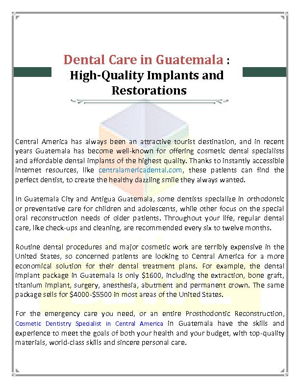 Cosmetic Dentistry Specialist in Central America