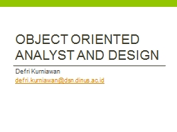 Object oriented analyst and design