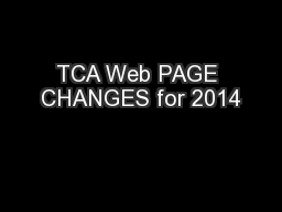 TCA Web PAGE CHANGES for 2014