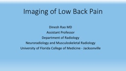 Imaging of Low Back Pain