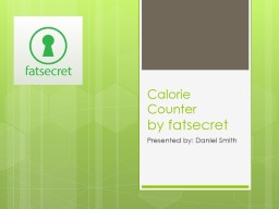 Calorie Counter PowerPoint PPT Presentation