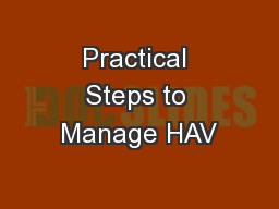 Practical Steps to Manage HAV