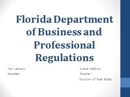 Florida Department of Business and Professional Regulations