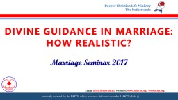 DIVINE GUIDANCE IN MARRIAGE: HOW REALISTIC?