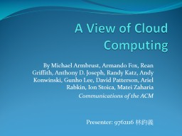 A View of Cloud