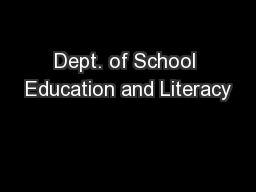 Dept. of School Education and Literacy