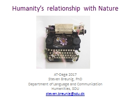 Humanity�s relationship with Nature