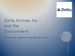 Delta Airlines Inc. and the Environment