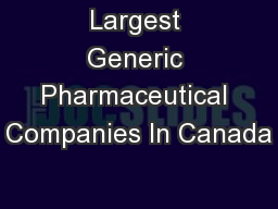 Largest Generic Pharmaceutical Companies In Canada