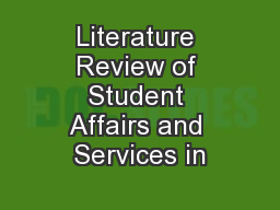 Literature Review of Student Affairs and Services in