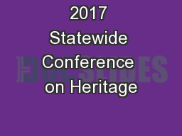 2017 Statewide Conference on Heritage
