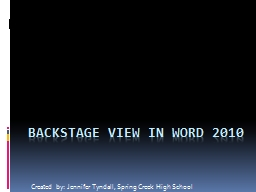 Backstage view in word 2010