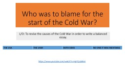 Who was to blame for the start of the Cold War?