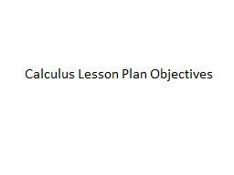 Calculus Lesson Plan Objectives