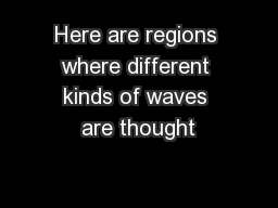 Here are regions where different kinds of waves are thought