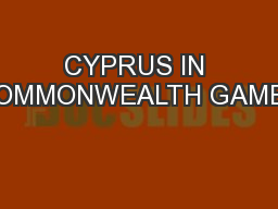 CYPRUS IN COMMONWEALTH GAMES