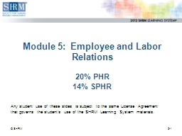 Module 5:  Employee and Labor Relations