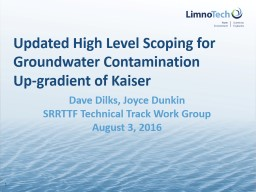 Updated High Level Scoping for Groundwater Contamination Up