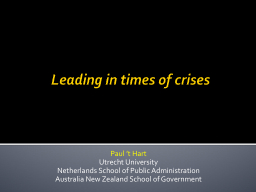 Leading in times of crises