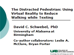 The Distracted Pedestrian: Using Virtual Reality to Reduce