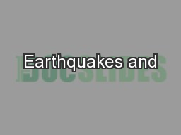 Earthquakes and