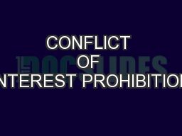 CONFLICT OF INTEREST PROHIBITION PowerPoint PPT Presentation