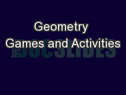 Geometry Games and Activities