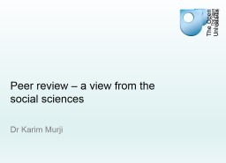 Peer review – a view from the social sciences