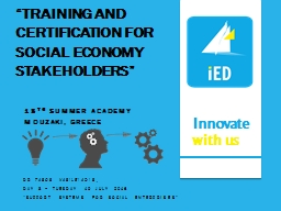 """Training and certification for social economy stakeholde"