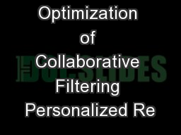 An  Optimization of Collaborative Filtering Personalized Re