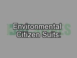 Environmental Citizen Suits: