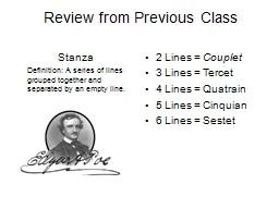 Review from Previous Class