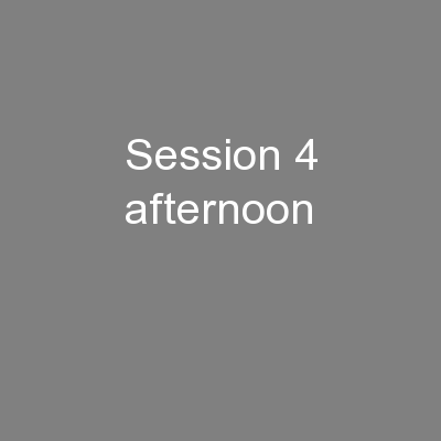 Session 4 afternoon