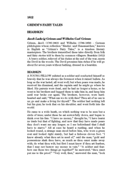 GRIMMS FAIRY TALES BEARSKIN Jacob Ludwig Grimm and Wi