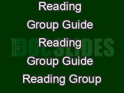 Reading Group Guide Reading Group Guide Reading Group