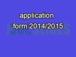 application form 2014/2015