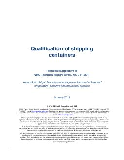 Qualification of shipping  containers Technical supplement to WHO Tech