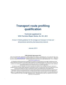 Transport route profiling  qualification  Technical supplement to WHO