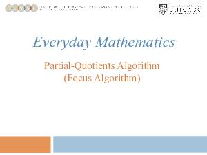 Finding the sum of the partial quotients. dividend divisormultiple of