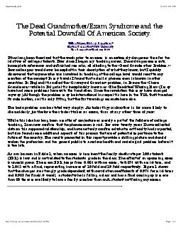 The Dead GrandmotherExam Syndrome and the Potential Downfall Of American Society