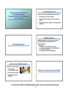 Communication Skills for Building Rapport During Contact Investigation PowerPoint PPT Presentation