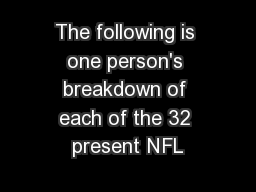 The following is one person's breakdown of each of the 32 present NFL