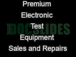 BRL Test - Premium Electronic Test Equipment Sales and Repairs