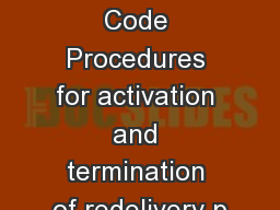 Network Code Procedures for activation and termination of redelivery p