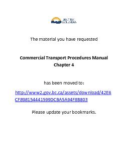 The material you have requested Commercial Transport Procedures Manual