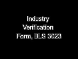 Industry Verification Form, BLS 3023