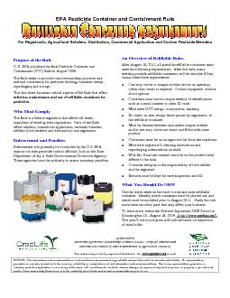 EPA Pesticide Container and Containment Rule