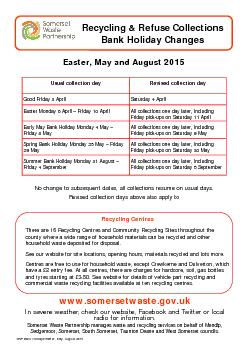 SWP Bank Holidays Easter, May, August 2015