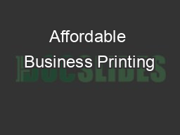 Affordable Business Printing